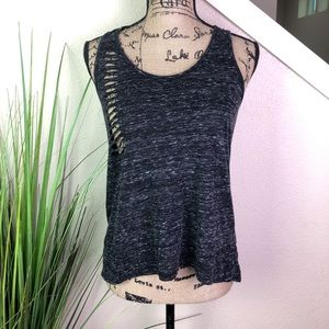 Chloe K tank top in dark gray with cat scratches